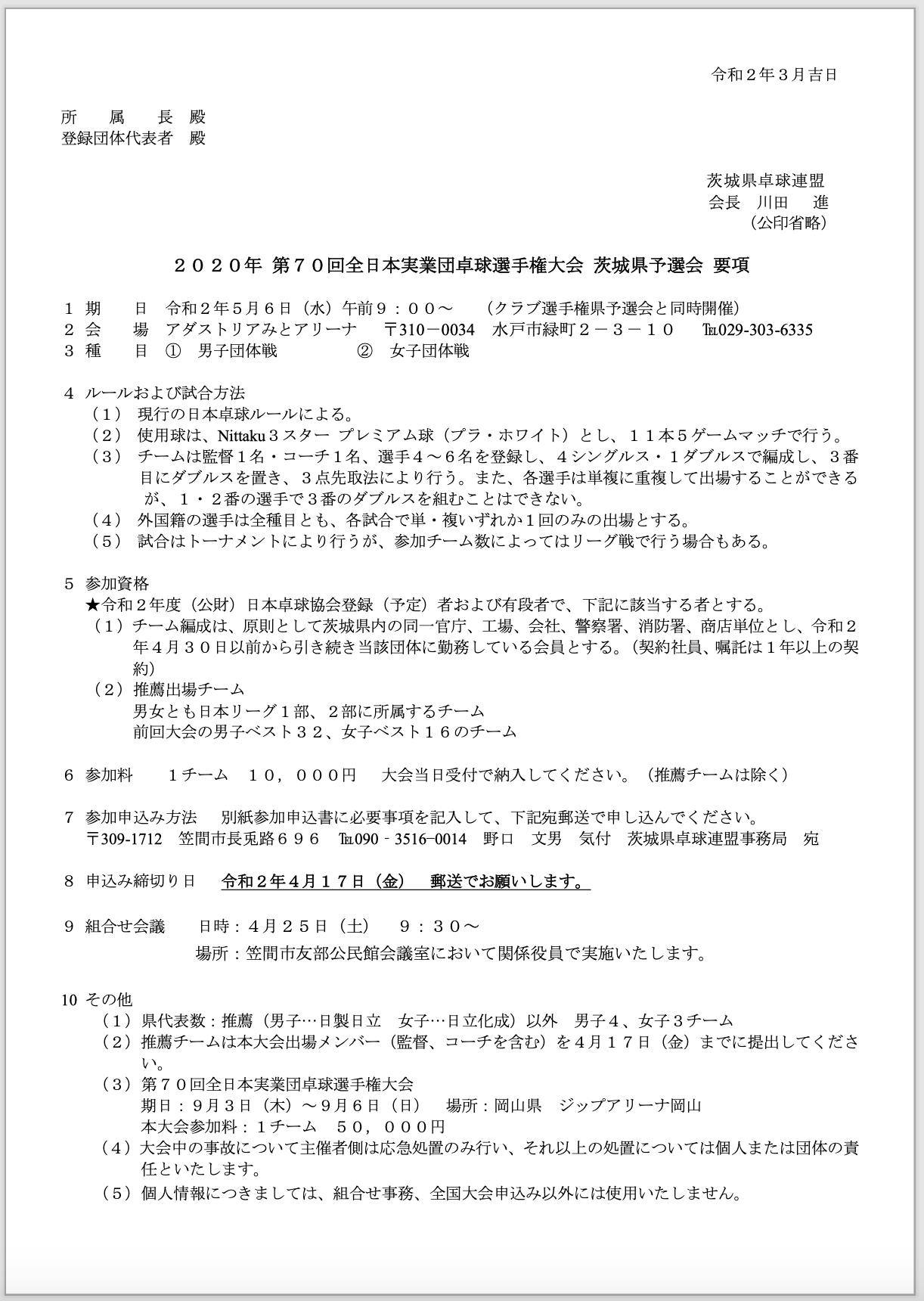 2020年度全日本実業団県予選会要項